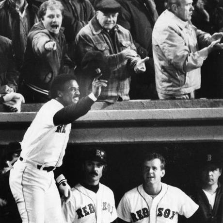 Jim Rice took a curtain call after hitting a three-run home run in the fourth inning.